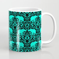 Elephant Damask Mint and Black Mug