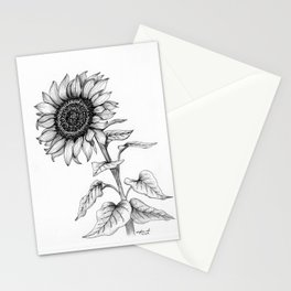 Sunflower Black and White Line Drawing, sunshine flower, pen and ink detail Stationery Cards