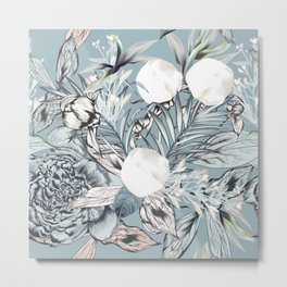 Fashion vector textile pattern with white peony flowers and palm leaves in vintage style  Metal Print