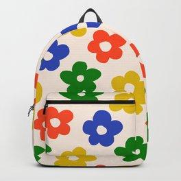 Retro Pattern Primary Rainbow Flowers #pattern #floral #vintage Backpack