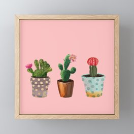 Three Cacti With Flowers On Pink Background Framed Mini Art Print
