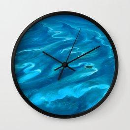 Dramatic Blue Ocean Waves Wall Clock