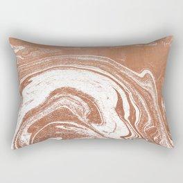 Marble suminagashi copper metallic japanese spilled ink watercolor ocean swirl marbling Rectangular Pillow