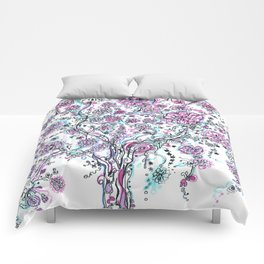 Purple and blue tree and flowers Comforters