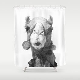 Black and White Camel Portrait Shower Curtain