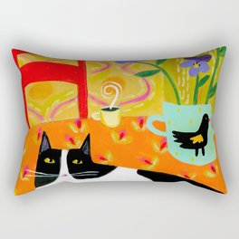 Tuxedo Cat on the Table with Black Bird planter Rectangular Pillow