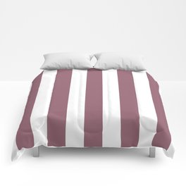 Raspberry glace violet - solid color - white vertical lines pattern Comforters