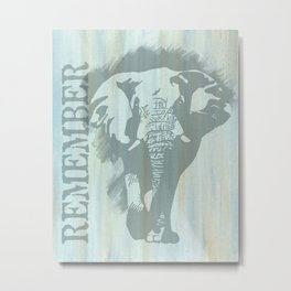 African Bull Elephant Remember Metal Print