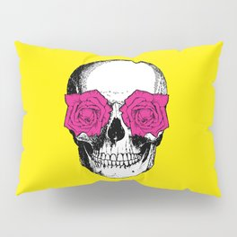 Skull and Roses | Yellow and Pink Pillow Sham