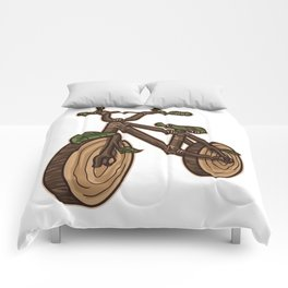 Nature Bicycle | Wooden Earth Day Illustration Comforters