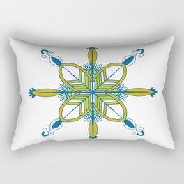 Indian symmetry blue flower folk art motif Rectangular Pillow