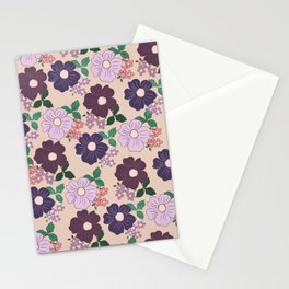 Modern navy blue burgundy lilac peach floral Stationery Cards