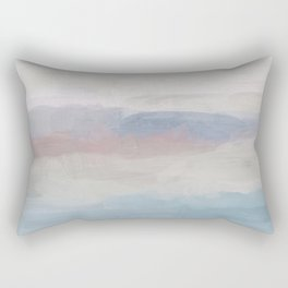 Dark Teal Blue, White, Pink, Light Blue Modern Wall Art, Ocean Waves Diptych Nursery Beach Decor Art Rectangular Pillow