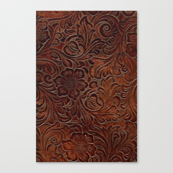 Burnished Rich Brown Tooled Leather Leinwanddruck