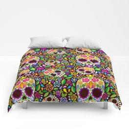 Sugar Skull Floral Naif Art Mexican Calaveras Comforters