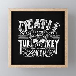 Bacon Lover, Pig Art, Foodie Art, Humor, Turkey Bacon, Pig Skull Framed Mini Art Print