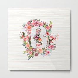 Initial Letter B Watercolor Flower Metal Print