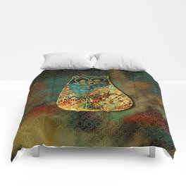Cute Boho Style cat on paint texture and gold outline Comforters