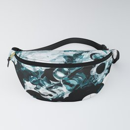 Modern Splash of Turquoise Black White Design Fanny Pack