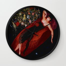 Stars & Moon (Portrait of my Crazy Sister) by Florine Stettheimer Wall Clock