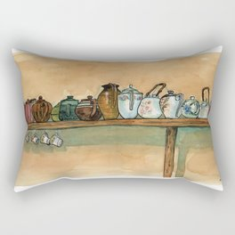 tea pots on the shelf Rectangular Pillow