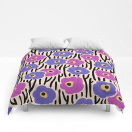 Mid Century Modern Wild Flowers Pattern Pink and Purple Comforters