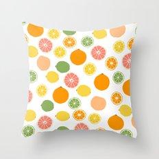 Orange Grapefruit Lemon Lime Citrus Pattern Throw Pillow