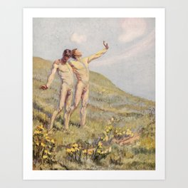 """""""Whose happiest days were far and away through fields, ... he and another wandering"""" Art Print"""