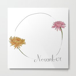 November - Flower Months  Metal Print