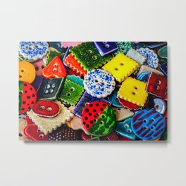 Pile Of Colorful Decorative Buttons. Fashionista Paradise Metal Print