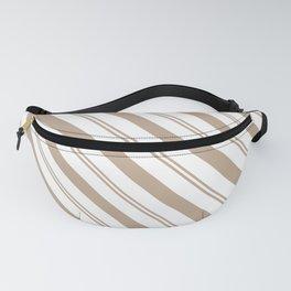 Pantone Hazelnut and White Stripes - Angled Lines Fanny Pack