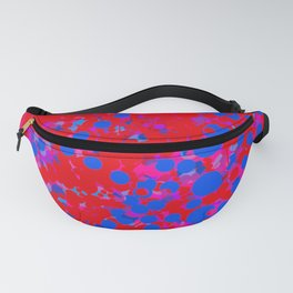 blue on red, circles Fanny Pack
