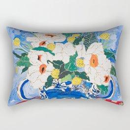 Queen of California - Giant Matilija Poppy Bouquet in Lion Vase on Blue Rectangular Pillow