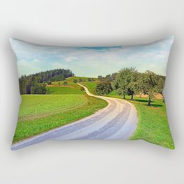 Apple trees along the country road | landscape photography Rectangular Pillow