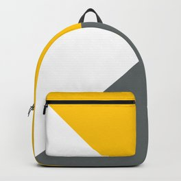 Yellow Grey White Abstract Geometric Art Backpack