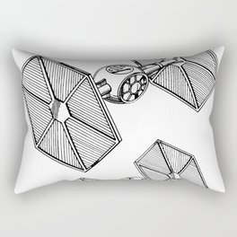 Starwars Tie Fighter Patent - Tie Fighter Art - Black And White Rectangular Pillow
