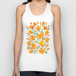 Watercolor California poppies Unisex Tank Top