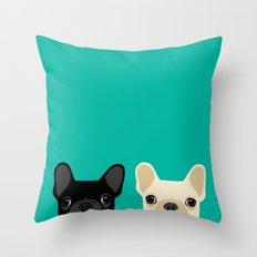 2 French Bulldogs Throw Pillow