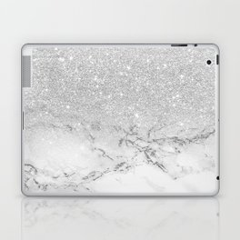 Modern faux grey silver glitter ombre white marble Laptop & iPad Skin