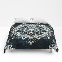 Glowing Spirit Mandala Blue White Comforters