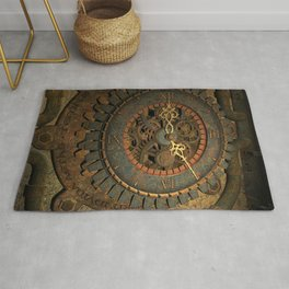 Steampunk, awesome clock, rusty metal Rug