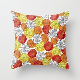 Dahlia Garden Summer Throw Pillow