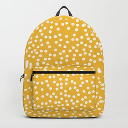Mustard Yellow and White Polka Dot Pattern Backpack