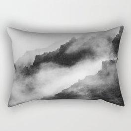 Foggy Mountains Black and White Rectangular Pillow