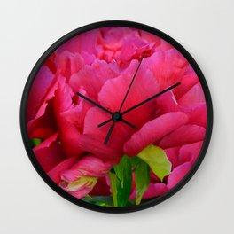 Dark Pink Tree Peony by Teresa Thompson Wall Clock