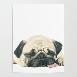 Nap Pug, Dog illustration original painting print Poster