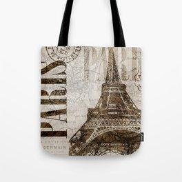 Vintage Paris eiffel tower illustration Tote Bag