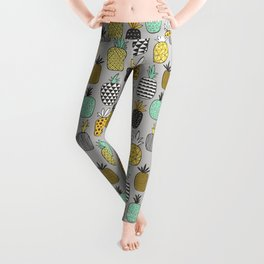 Pineapple Geometric on Grey Leggings