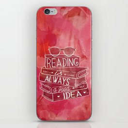 Reading is Always a Good Idea - Red iPhone Skin