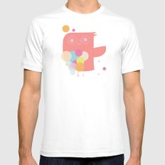 Owly Owl//One White Mens Fitted Tee MEDIUM